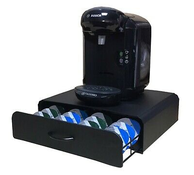 64 Tassimo Coffee Pod Holder, Capsules Drawer, Machine Stand. Black - FREE Cloth