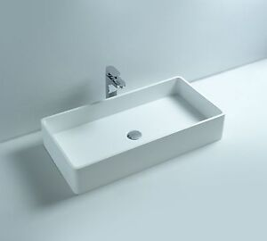 Solid Stone Sink : Countertop-Solid-Surface-Stone-Modern-Hung-Bathroom-Sink-32-x-16-DW ...