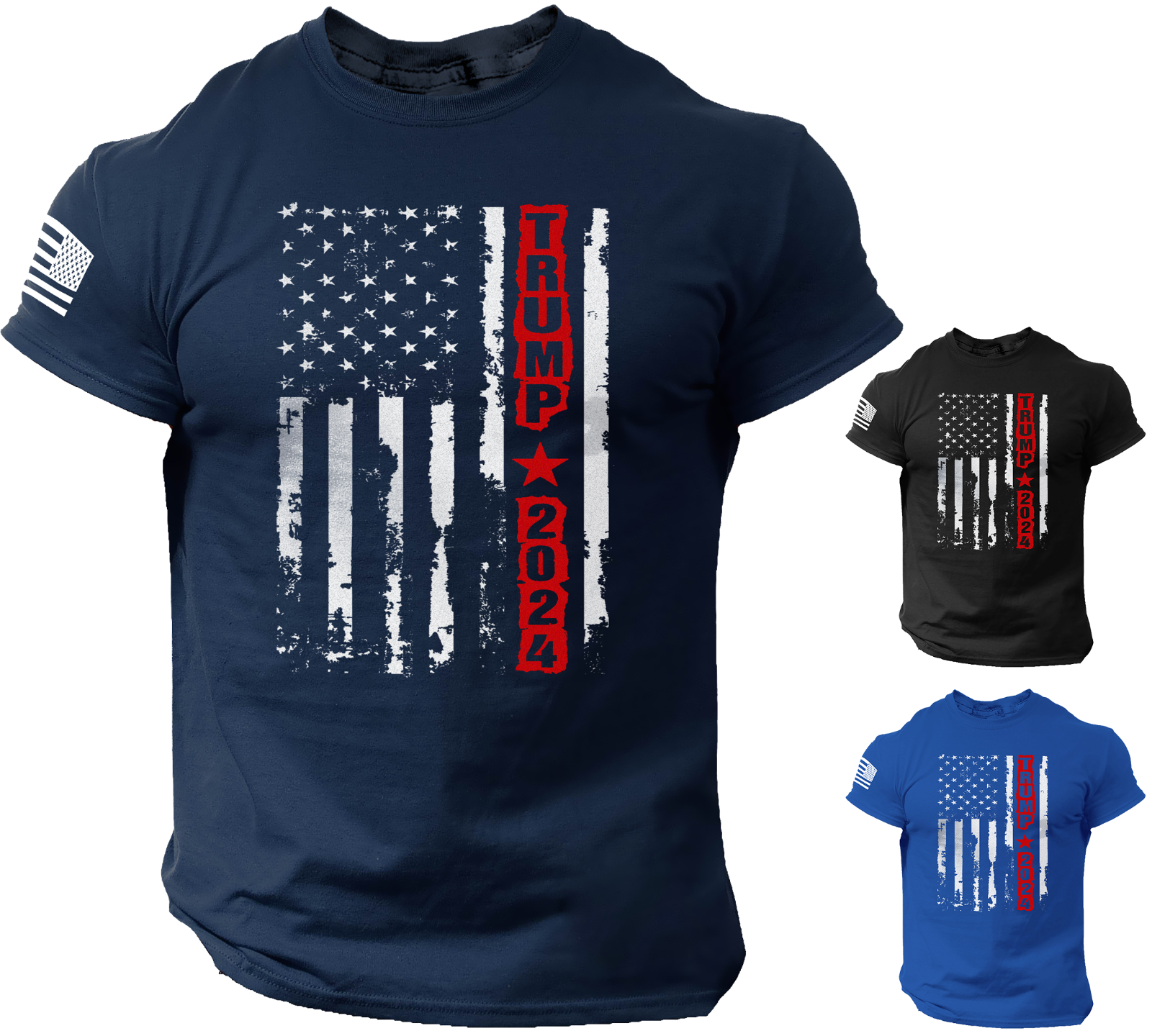 Trump 2024 T-shirt American Flag MAGA Shirts Clothing, Shoes & Accessories