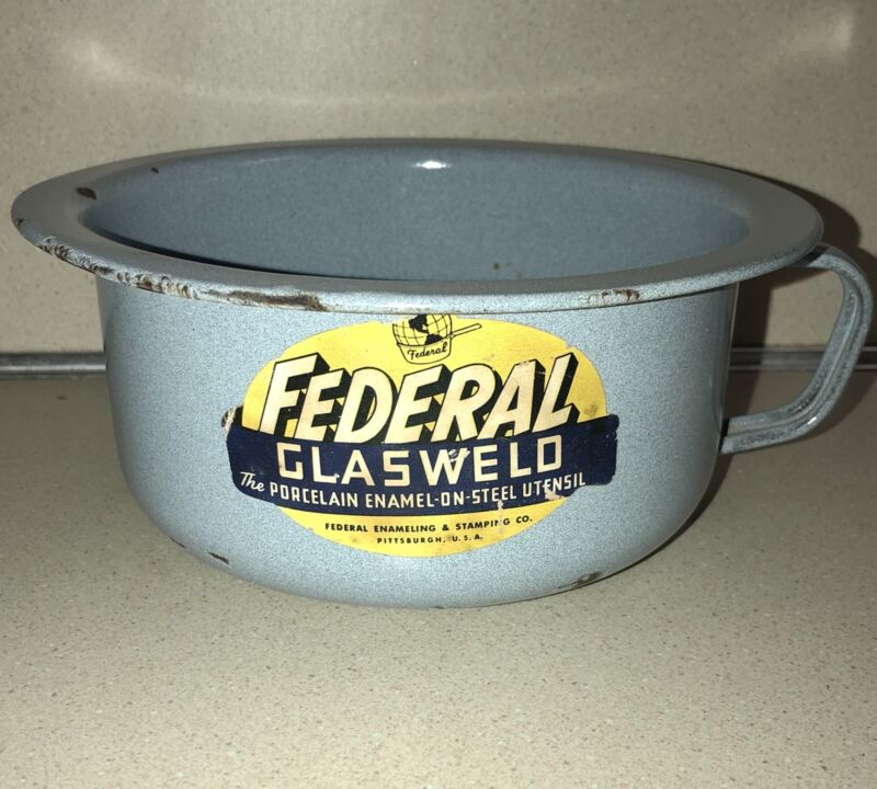 Vintage Federal Glasweld Porcelain Enamel Pot, Urinal, Planter w/Handle USA Gray