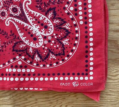 Red Polka Dot Bandana (Vtg Bandana Fast Color Handkerchief Elephant Trunk Down Red Polka Dot)