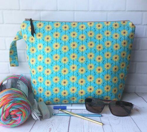 Handmade Zipper Bag Crafts Knit Crochet Travel Makeup Storage Sunflowers Gift