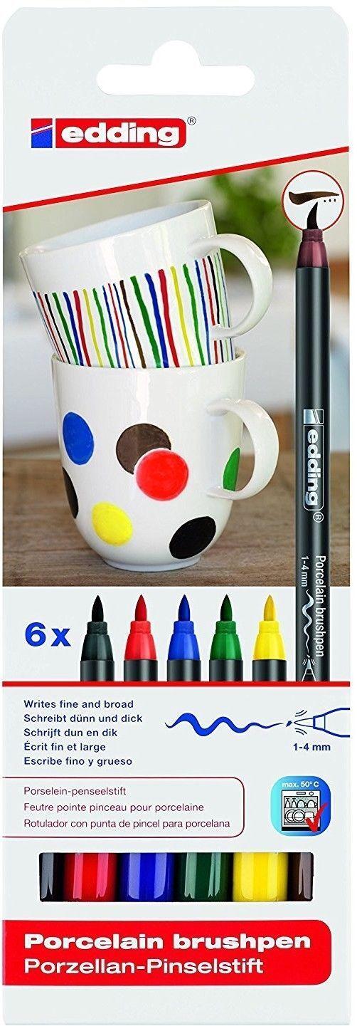 edding 4200 Porcelain Brushpen Set - Oven Bake Marker Pen Set (Ceramic Crafts)