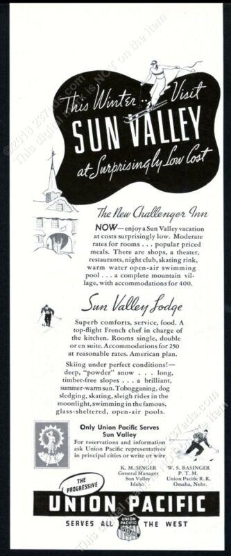 1938 Sun Valley ski area skier skiing Challenger Inn art vintage print ad
