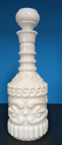 Beautiful Vtg Decanter White Milk Glass Jim Beam Liquor Bottle With Lid