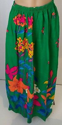 Womens Vintage 60s Beeline Fashions Bright Green Long Floral Hippie Skirt. Large