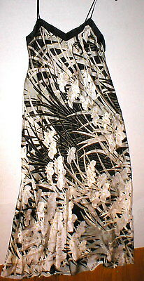 NWT New Josie Natori M Black White Silver Silk Floral Womens Nightgown Designer