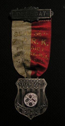 1919 POLISH AMERICAN ZPRK DELEGATE MEDAL  PASSAIC NEWARK NJ Roman Catholic Union