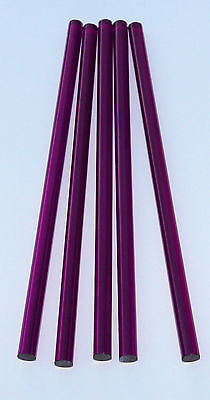 5 Clear Purple 12 Diameter 12 Inch Long Acrylic Plexiglass Lucite Colored Rod