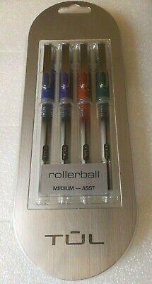 Tul Rb1 Roller Ball Pens Medium Point Silver Barrel Assorted Ink Colors 4-pk