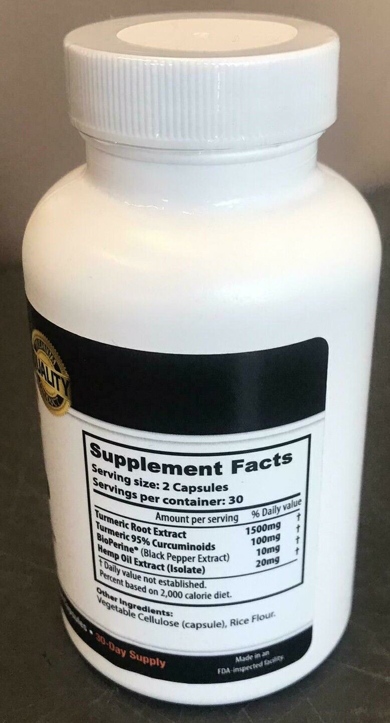 Turmeric & Hemp 1500mg Supplement Antioxidant Inflammation Joint Health Capsule 2