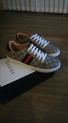 Genuine Gucci Ace GG Supreme Canvas trainers size 8.5 (With box)
