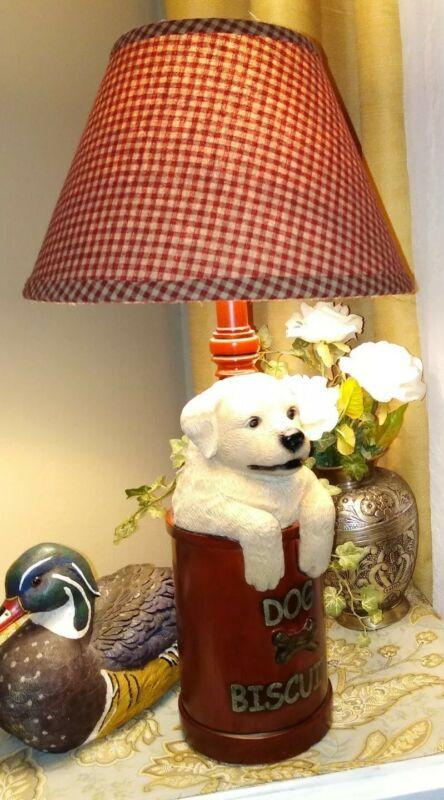 Vintage Labrador Retriever Dog Lamp COUNTRY COTTAGE FARMHOUSE FOLK ART SCULPTURE