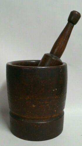 Antique 1800s 19th century Black Walnut wood Mortar and Pestle large