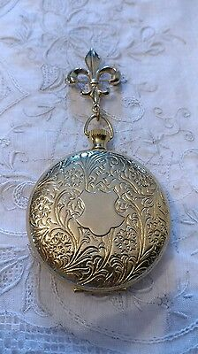 - Vintage Gold Tone Fleur de Lis Pin Brooch Embossed Locket Drop Daisy Monogram
