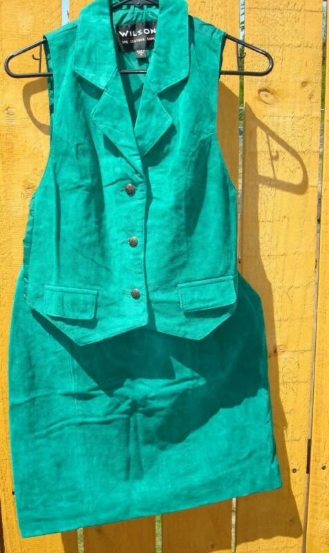Vintage Wilson Leather Vest & Skirt Set Green Suede Sz 8 Skirt Medium Top