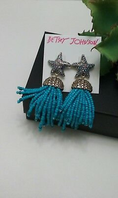 Betsey Johnson Glitter Reaf Star -fish blue bead gold tone dangle stud earrings