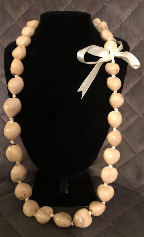 Light Blonde Kukui Nut Lei Necklace with Satin Bow-Luau Hula Wedding Graduation
