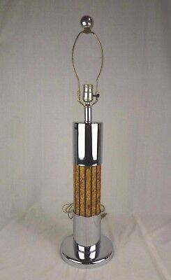 Vtg Mid Century Modern Chrome & Cork Table Lamp Column -