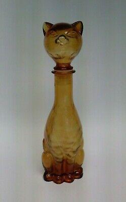 Vintage Cat Wine Decanter Bottle Amber Gold Glass 14.5