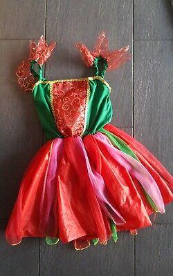 fee Kostüm Mädchen waldelfe 6 7 8 Jahre Fasching Kleid bunt rot grün Prinzessin ()