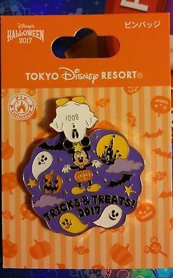 Tokyo Disney 2017 Halloween Pin Tricks & Treats w/ Moveable Mickey Ghost TDL TDR