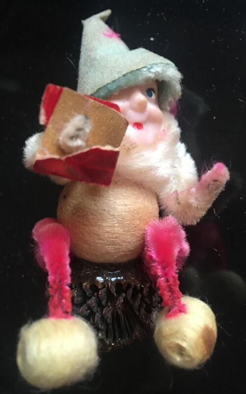 Pine Cone Elf Gnome Christmas Decoration Pipe Cleaner Paper Mache Spun Cotton