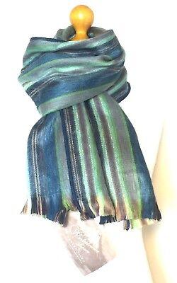 Sea Green-stripe (Sea Blue Green Stripe ALPACA SCARF Designer Handcrafted Woven UNISEX Men Women)