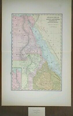 "EGYPT ABYSSINIA ERITREA 1900 Vintage Atlas Map 14""x22"" Old Antique CAIRO GONDAR"