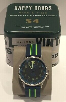 Fossil Forrester Watch FS5614 Striped Blue Silicone 44mm