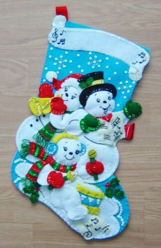 """Christmas Stocking, completed  Bucilla kit, Snowman Family Band,18"""" Felt/jewels"""