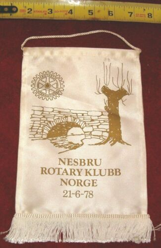 VINTAGE Rotary International Club wall banner flag     NESBRU   NORGE