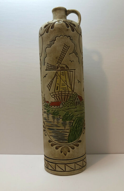 Vintage Ceramarte Windmill Beer Mug Stein Made In Brazil Decanter Wine Holland