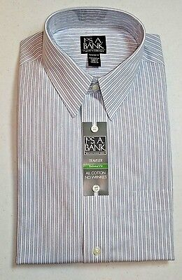 87 50 Jos A Bank Traveler Blue Striped Dress Shirt 16   36 Tailored Fit