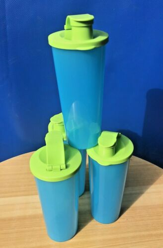 TUPPERWARE TUMBLERS with FLIP TOP LIDS 16oz Blue w/Green Color  SET OF 4 New!!!