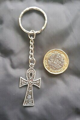 Egyptian Ankh Cross Pendant Key Ring Key Chain TIBETAN SILVER -