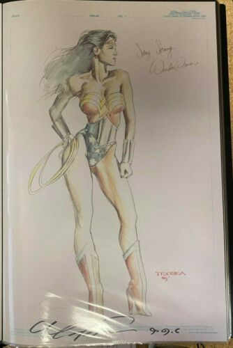 SEXY WONDER WOMAN STAY STRONG MARK TEXEIRA SIGNED PRINT 11 x 17 #oa-1109