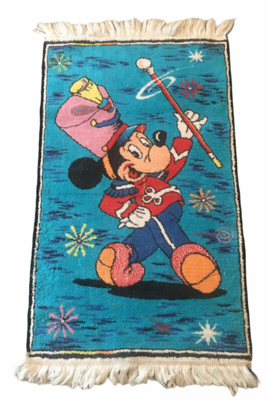 Vintage Mickey Mouse Rug - Mickey Mouse Marching Band Leader - Walt Disney 38x21