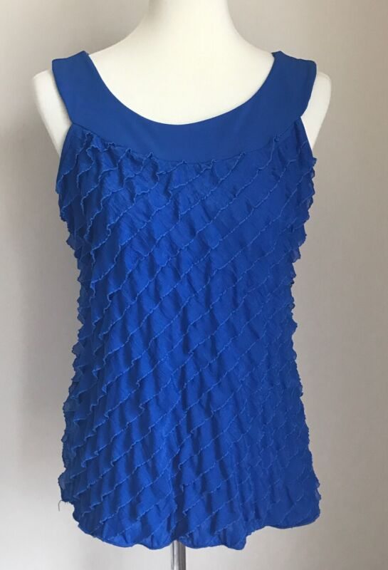 Vtg Harve Bernard Womens Sleeveless Ruffle Tank Top Blue Sz L Large Made in USA