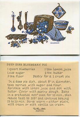 Vintage Kitchen Deep Dish Blueberry Pie Recipe 1 Christmas Santa Birdhouse Card