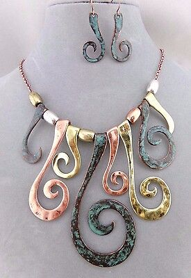 Gold Copper Green Patina Swirl Necklace Set Fashion Jewelry NEW