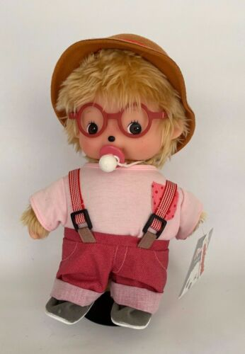 "SEKIGUCHI Monchhichi Plush Stuffed Doll Girl Boy 9"" Glasses hat suspenders"