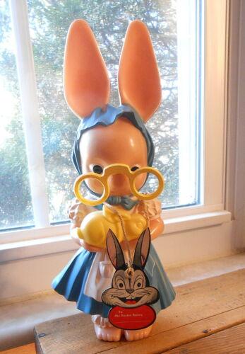"Hard Plastic Knickerbocker Bunny Rabbit Bank - 11"""