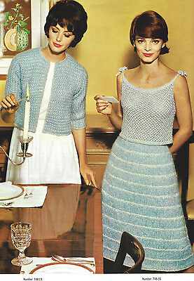 Vintage Knitting PATTERN to make Mohair Evening Skirt Camisole Top Jacket MoBlue Camisole Knitting Patterns