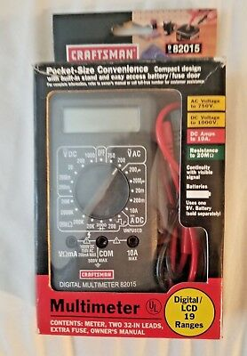 Craftsman 82015 Digitallcd Multimeter 19 Ranges Free Shipping New