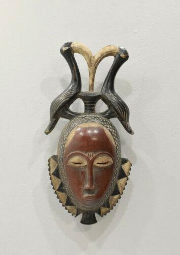African Mask Wood Crest Baule Mask