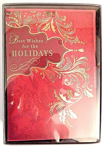 Hallmark Christmas Holiday Boxed 16 Cards Red Gold Bling Classic