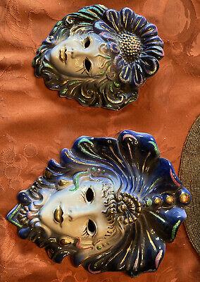 Italy VENETIAN MASK Ceramic Wall Hanging Decor Face Mardi Gras Porcelain Set