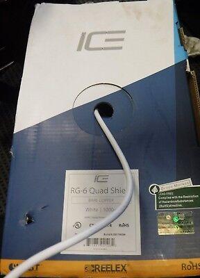 IE RG-6 Quad Shield Bare Copper White 1000 FT Reel In Box (Brand New) ()