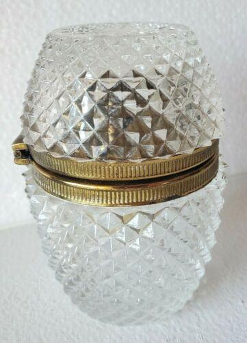 Vintage French Cut GlassTable Lighter w/ Brass Bronze